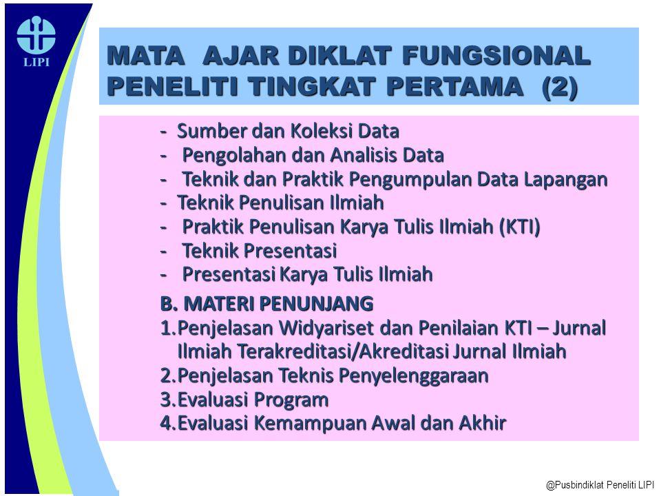 MATA AJAR DIKLAT FUNGSIONAL PENELITI TINGKAT PERTAMA (2) - Sumber dan Koleksi Data - Pengolahan dan Analisis Data - Teknik dan Praktik Pengumpulan Dat
