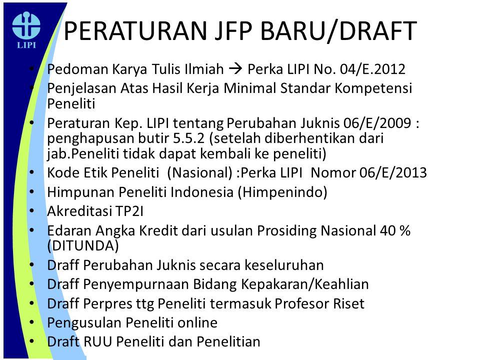 PERATURAN JFP BARU/DRAFT Pedoman Karya Tulis Ilmiah  Perka LIPI No. 04/E.2012 Penjelasan Atas Hasil Kerja Minimal Standar Kompetensi Peneliti Peratur