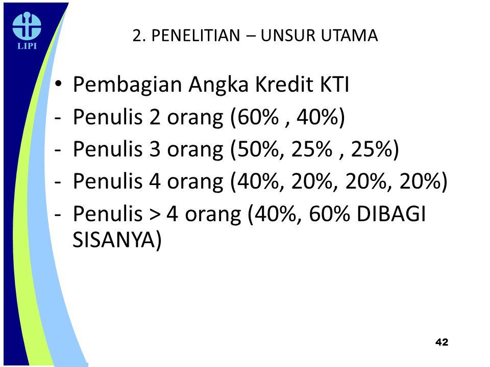 42 2. PENELITIAN – UNSUR UTAMA Pembagian Angka Kredit KTI - Penulis 2 orang (60%, 40%) -Penulis 3 orang (50%, 25%, 25%) -Penulis 4 orang (40%, 20%, 20