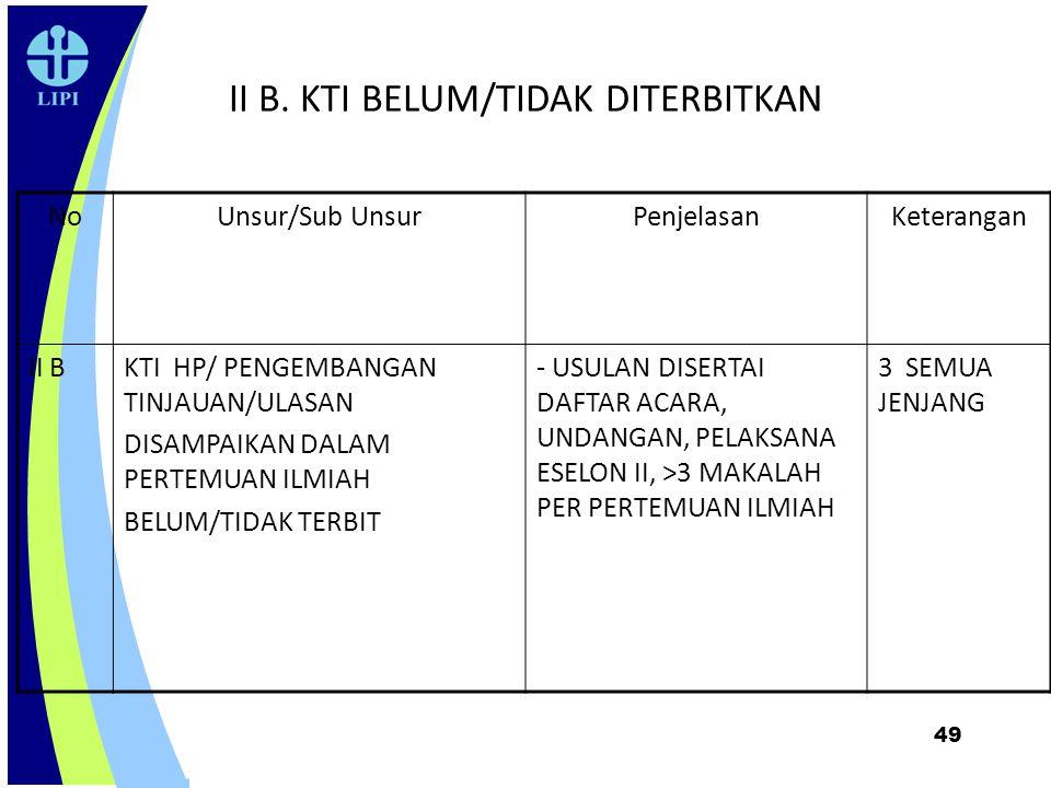 49 II B. KTI BELUM/TIDAK DITERBITKAN NoUnsur/Sub UnsurPenjelasanKeterangan II BKTI HP/ PENGEMBANGAN TINJAUAN/ULASAN DISAMPAIKAN DALAM PERTEMUAN ILMIAH