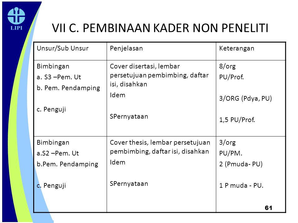 61 VII C. PEMBINAAN KADER NON PENELITI Unsur/Sub UnsurPenjelasanKeterangan Bimbingan a.S3 –Pem. Ut b.Pem. Pendamping c. Penguji Cover disertasi, lemba