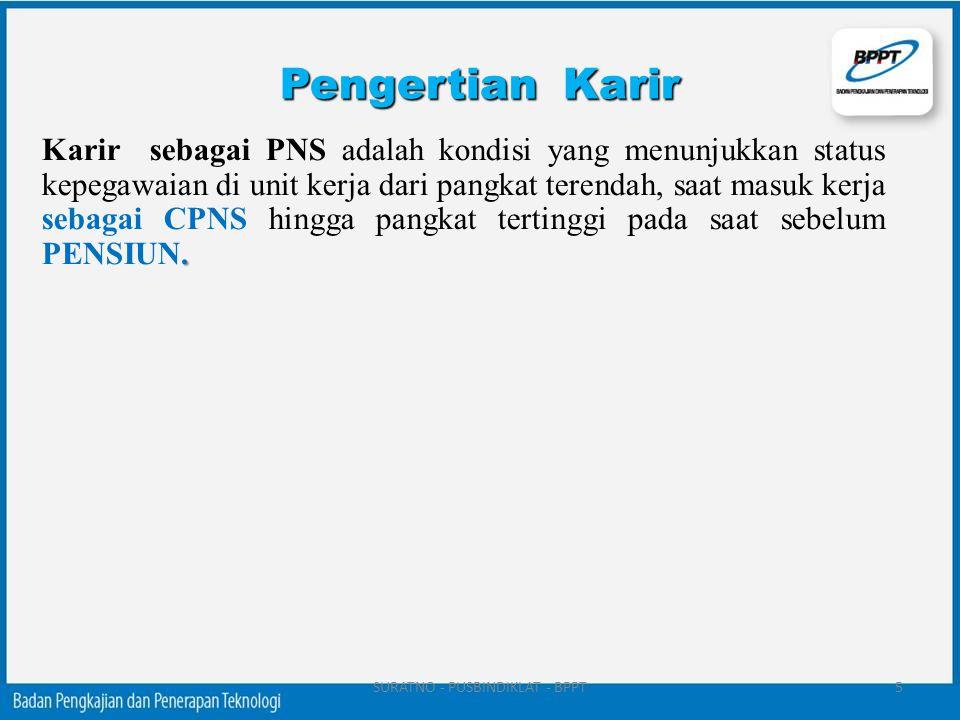 . Karir sebagai PNS adalah kondisi yang menunjukkan status kepegawaian di unit kerja dari pangkat terendah, saat masuk kerja sebagai CPNS hingga pangk