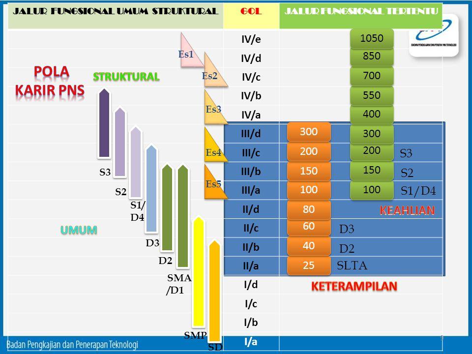 JALUR FUNGSIONAL UMUM STRUKTURALGOLJALUR FUNGSIONAL TERTENTU IV/e IV/d IV/c IV/b IV/a III/d III/c III/b III/a II/d II/c II/b II/a I/d I/c I/b I/a SD S