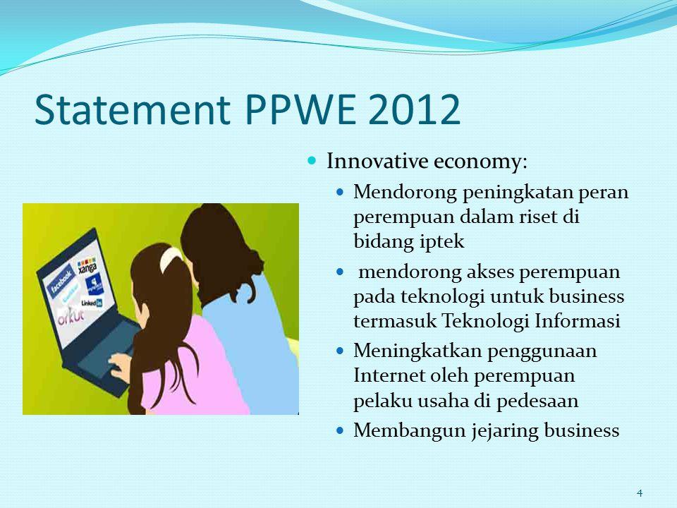 Statement PPWE 2012 Innovative economy: Mendorong peningkatan peran perempuan dalam riset di bidang iptek mendorong akses perempuan pada teknologi unt