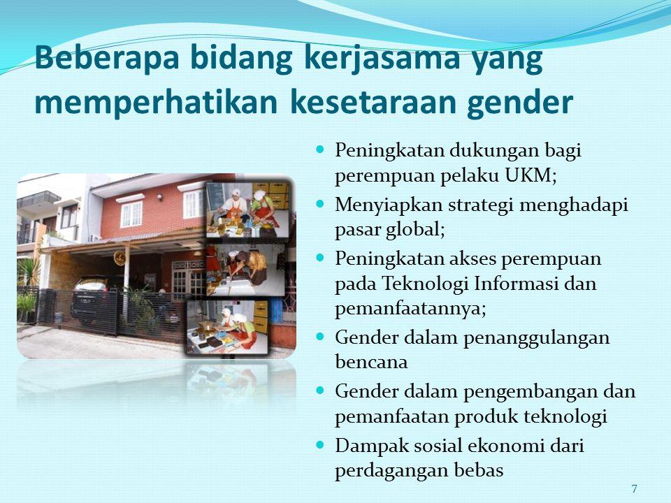 Beberapa bidang kerjasama yang memperhatikan kesetaraan gender Peningkatan dukungan bagi perempuan pelaku UKM; Menyiapkan strategi menghadapi pasar gl