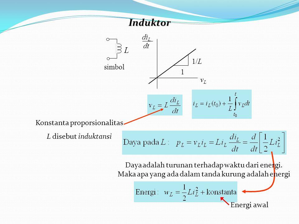 Induktor 1/L vLvL 1 di L dt simbol L Konstanta proporsionalitas L disebut induktansi Daya adalah turunan terhadap waktu dari energi.