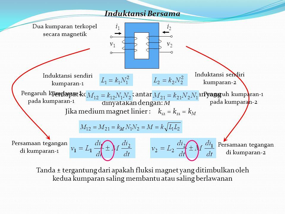Terdapat kopling magnetik antar kedua kumparan yang dinyatakan dengan: M i1i1 i2i2 v1v1 v2v2 k 12 = k 21 = k M Jika medium magnet linier : Induktansi Bersama Tanda  tergantung dari apakah fluksi magnet yang ditimbulkan oleh kedua kumparan saling membantu atau saling berlawanan Dua kumparan terkopel secara magnetik Induktansi sendiri kumparan-1 Induktansi sendiri kumparan-2 Pengaruh kumparan-2 pada kumparan-1 Pengaruh kumparan-1 pada kumparan-2 Persamaan tegangan di kumparan-2 Persamaan tegangan di kumparan-1
