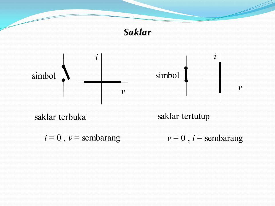 saklar terbuka i = 0, v = sembarang v i simbol saklar tertutup v = 0, i = sembarang v i simbol Saklar