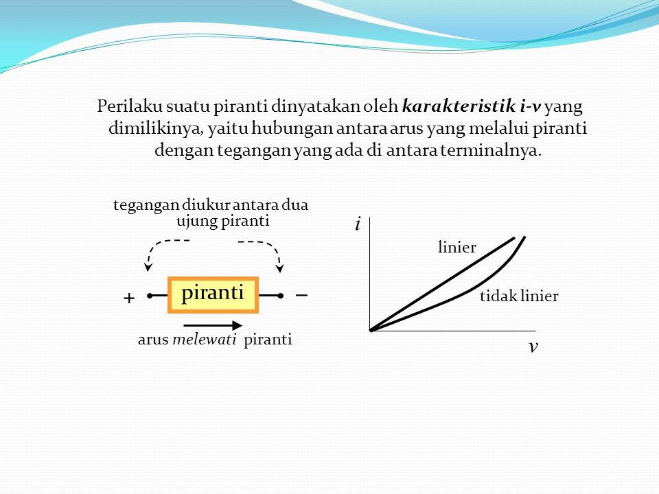 Perilaku suatu piranti dinyatakan oleh karakteristik i-v yang dimilikinya, yaitu hubungan antara arus yang melalui piranti dengan tegangan yang ada di antara terminalnya.