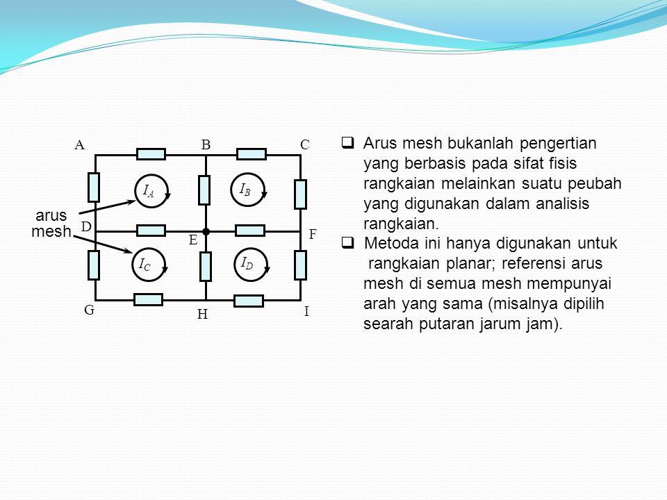  Arus mesh bukanlah pengertian yang berbasis pada sifat fisis rangkaian melainkan suatu peubah yang digunakan dalam analisis rangkaian.  Metoda ini