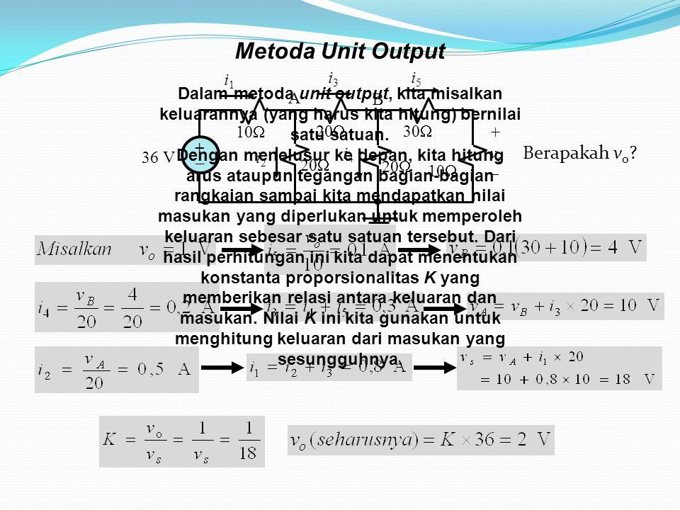 Metoda Unit Output 10  36 V ++ 20  30  20  10  20  i1i1 i3i3 i5i5 i2i2 i4i4 +vo+vo A B Berapakah v o ? Dalam metoda unit output, kita misalk