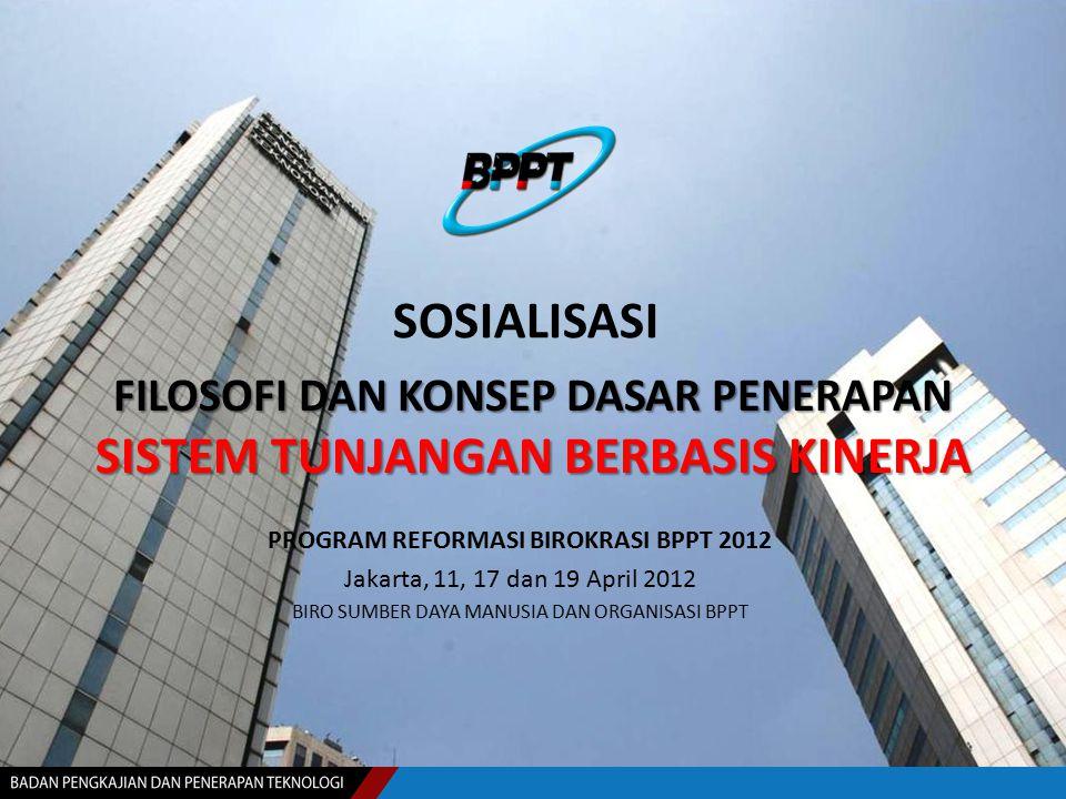 FILOSOFI DAN KONSEP DASAR PENERAPAN SISTEM TUNJANGAN BERBASIS KINERJA PROGRAM REFORMASI BIROKRASI BPPT 2012 Jakarta, 11, 17 dan 19 April 2012 BIRO SUM