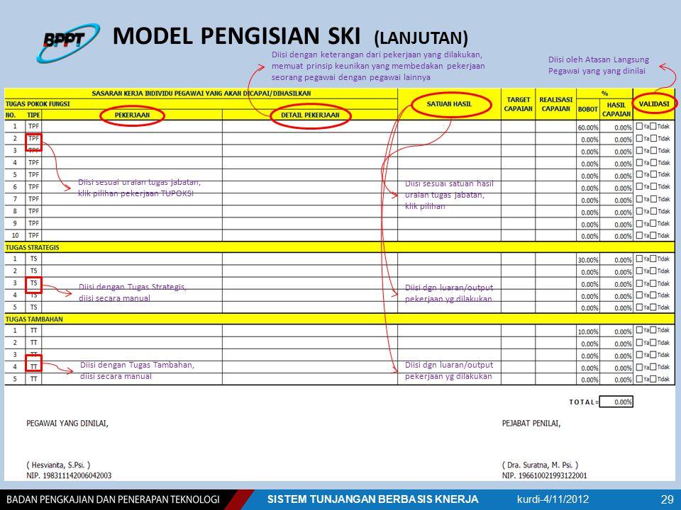 MODEL PENGISIAN SKI (LANJUTAN) Diisi sesuai uraian tugas jabatan, klik pilihan pekerjaan TUPOKSI Diisi dengan Tugas Strategis, diisi secara manual Dii