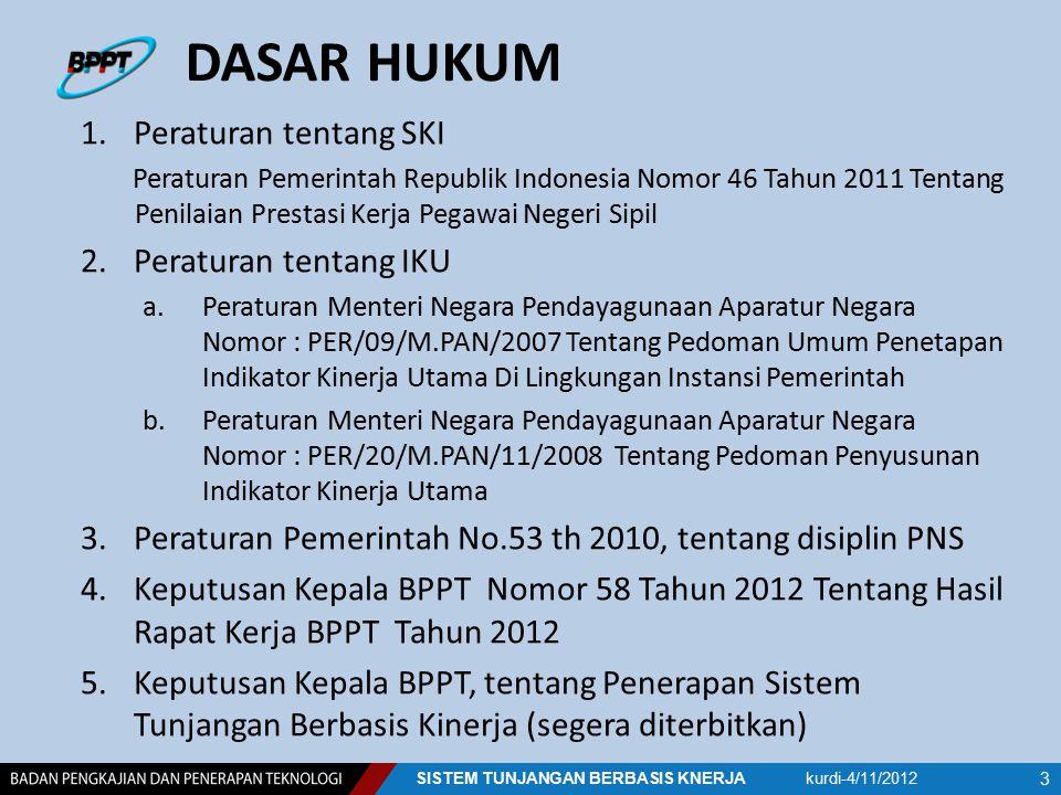 DASAR HUKUM 1.Peraturan tentang SKI Peraturan Pemerintah Republik Indonesia Nomor 46 Tahun 2011 Tentang Penilaian Prestasi Kerja Pegawai Negeri Sipil