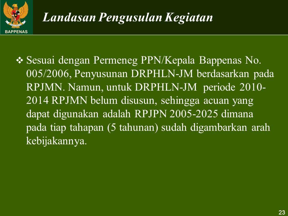 23  Sesuai dengan Permeneg PPN/Kepala Bappenas No. 005/2006, Penyusunan DRPHLN-JM berdasarkan pada RPJMN. Namun, untuk DRPHLN-JM periode 2010- 2014 R