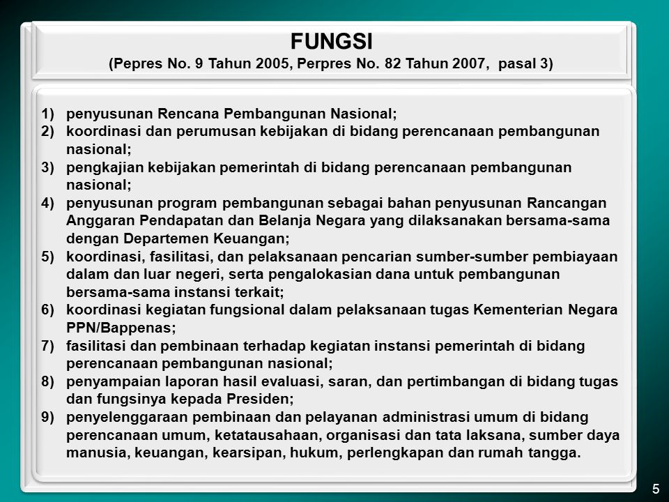 Penugasan lain kepada Kementerian PPN/Bappenas dalam 5 tahun terakhir (yang sudah dan yang masih dilaksanakan), antara lain: 1)Rekonstruksi Provinsi Nanggroe Aceh Darusalam dan Nias pasca bencana gempa dan tsunami; 2)Penilaian terhadap perkiraan kerusakan dan kerugian (damages and losses assessment) yang diakibatkan oleh bencana gempa bumi Sumatera Barat, sekaligus menilai kebutuhan (needs assessment) pemulihan pascabencana, bersama BNPB dan Pemprop.