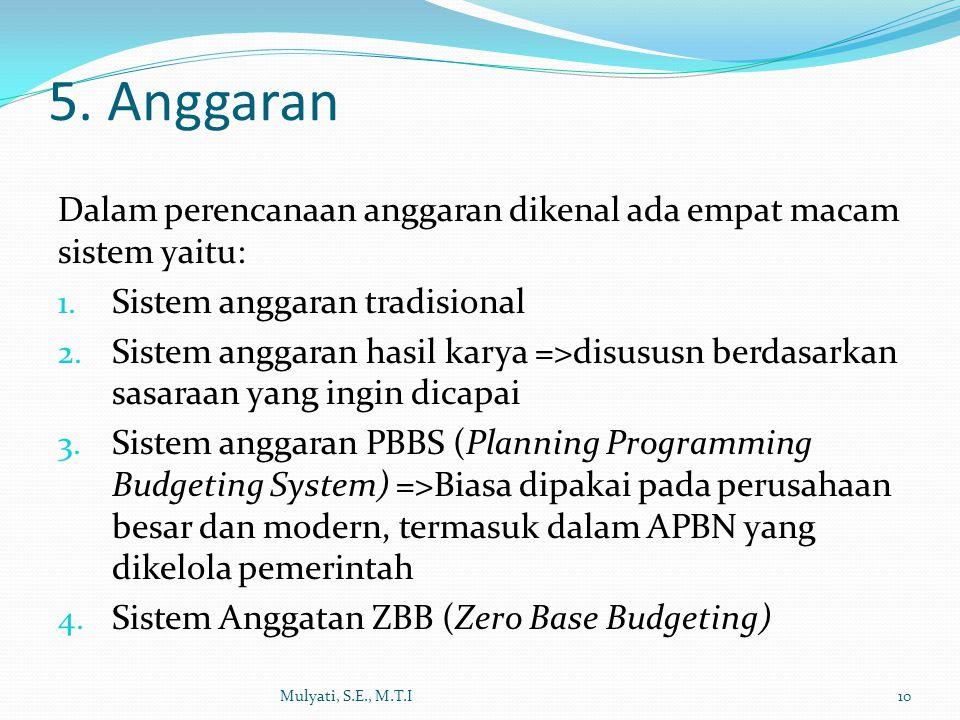 Dalam perencanaan anggaran dikenal ada empat macam sistem yaitu: 1.