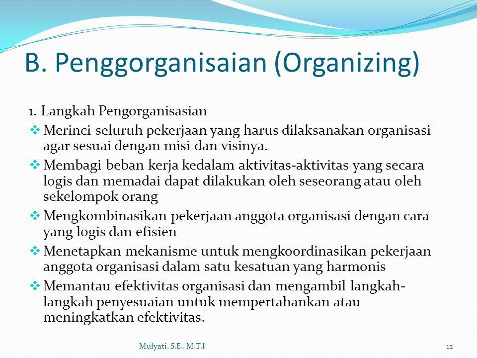 1. Langkah Pengorganisasian  Merinci seluruh pekerjaan yang harus dilaksanakan organisasi agar sesuai dengan misi dan visinya.  Membagi beban kerja