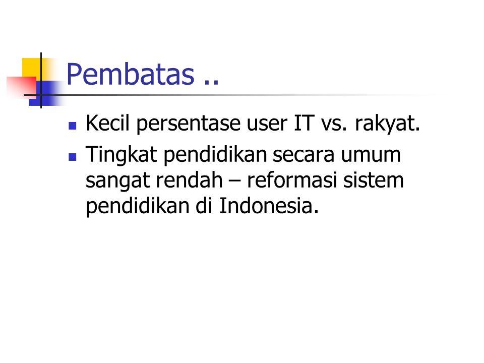 Perlu difikirkan.. 200 juta bangsa Indonesia 80 juta-an tenaga kerja 80% tingkat pendidikan max. SD! jangan bermimpi pakai IT disini.. Hanya 1-2 juta