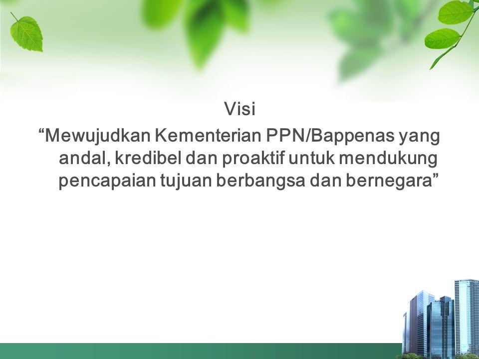 """Visi """"Mewujudkan Kementerian PPN/Bappenas yang andal, kredibel dan proaktif untuk mendukung pencapaian tujuan berbangsa dan bernegara"""""""