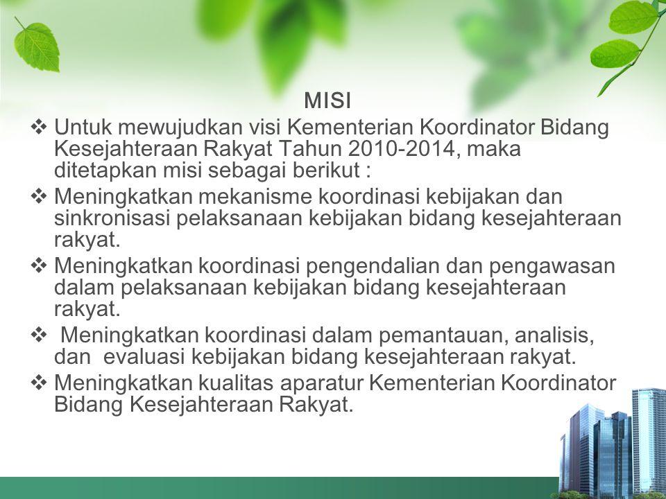 MISI  Untuk mewujudkan visi Kementerian Koordinator Bidang Kesejahteraan Rakyat Tahun 2010-2014, maka ditetapkan misi sebagai berikut :  Meningkatka