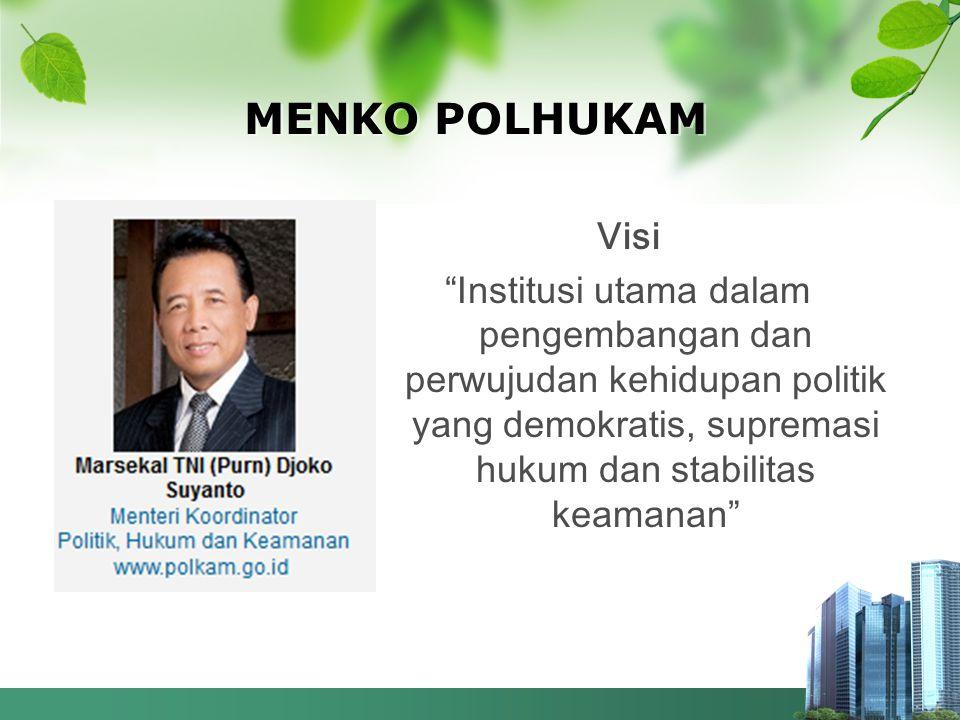"""MENKO POLHUKAM Visi """"Institusi utama dalam pengembangan dan perwujudan kehidupan politik yang demokratis, supremasi hukum dan stabilitas keamanan"""""""