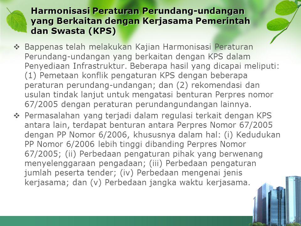 Harmonisasi Peraturan Perundang-undangan yang Berkaitan dengan Kerjasama Pemerintah dan Swasta (KPS)  Bappenas telah melakukan Kajian Harmonisasi Per