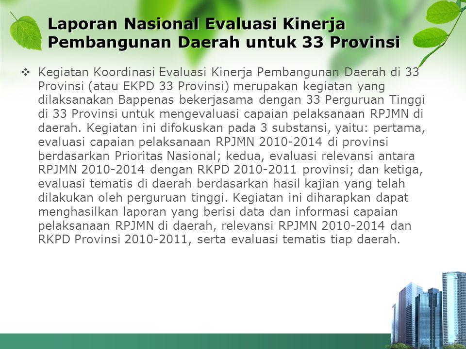 Laporan Nasional Evaluasi Kinerja Pembangunan Daerah untuk 33 Provinsi  Kegiatan Koordinasi Evaluasi Kinerja Pembangunan Daerah di 33 Provinsi (atau