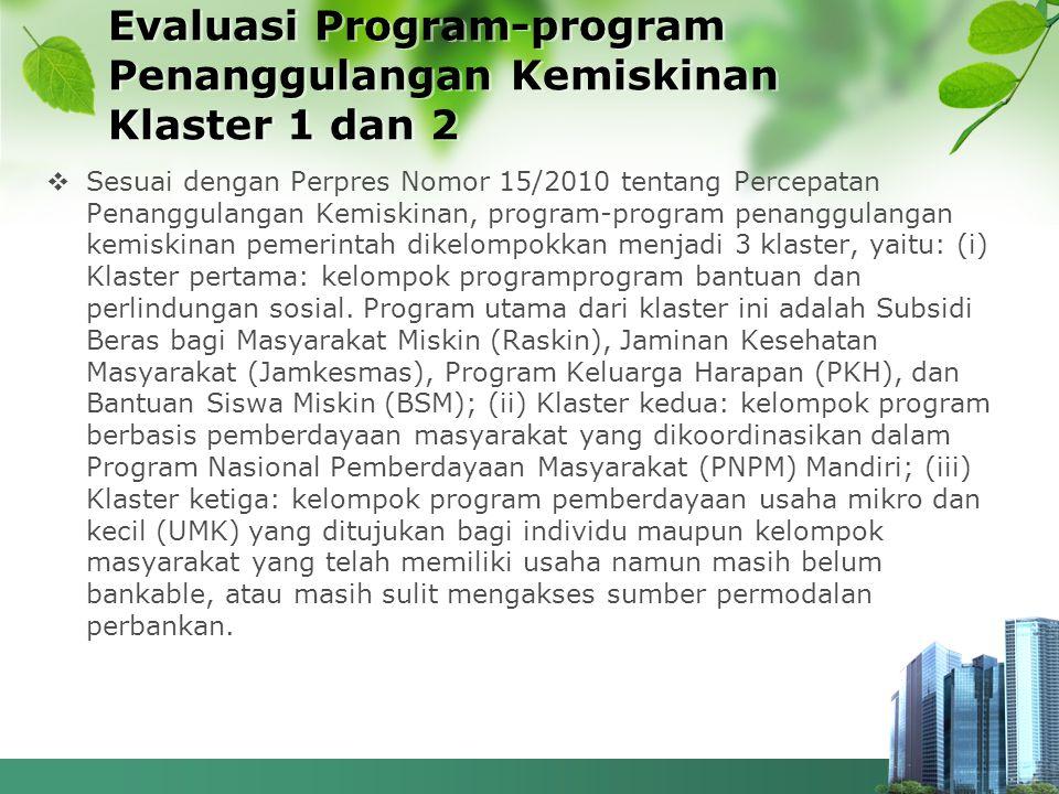 Evaluasi Program-program Penanggulangan Kemiskinan Klaster 1 dan 2  Sesuai dengan Perpres Nomor 15/2010 tentang Percepatan Penanggulangan Kemiskinan,