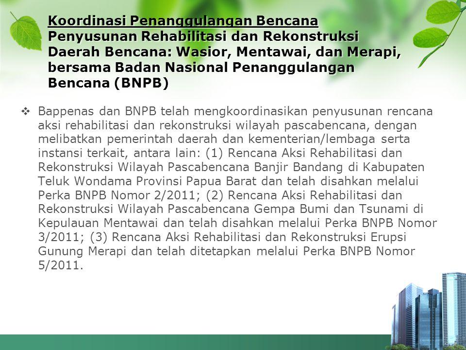 Koordinasi Penanggulangan Bencana Penyusunan Rehabilitasi dan Rekonstruksi Daerah Bencana: Wasior, Mentawai, dan Merapi, bersama Badan Nasional Penang