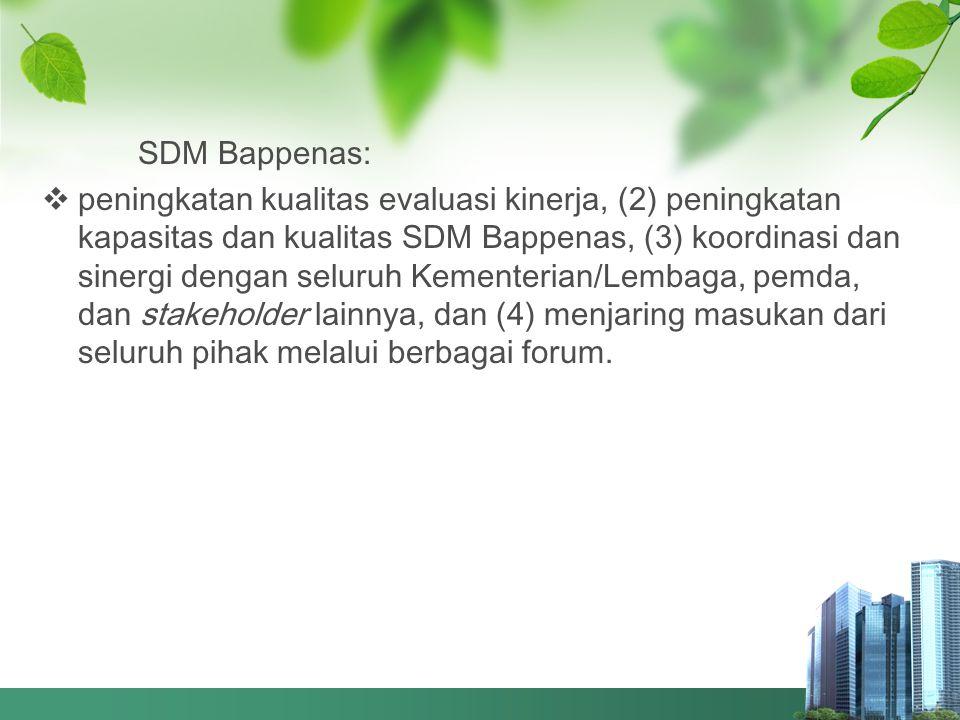 SDM Bappenas:  peningkatan kualitas evaluasi kinerja, (2) peningkatan kapasitas dan kualitas SDM Bappenas, (3) koordinasi dan sinergi dengan seluruh
