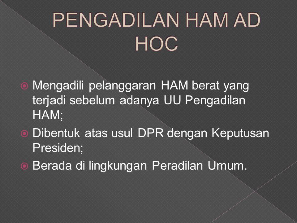  Mengadili pelanggaran HAM berat yang terjadi sebelum adanya UU Pengadilan HAM;  Dibentuk atas usul DPR dengan Keputusan Presiden;  Berada di lingkungan Peradilan Umum.