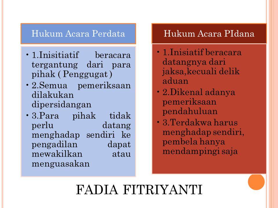 FADIA FITRIYANTI Hukum Acara Perdata 1.Inisitiatif beracara tergantung dari para pihak ( Penggugat ) 2.Semua pemeriksaan dilakukan dipersidangan 3.Par