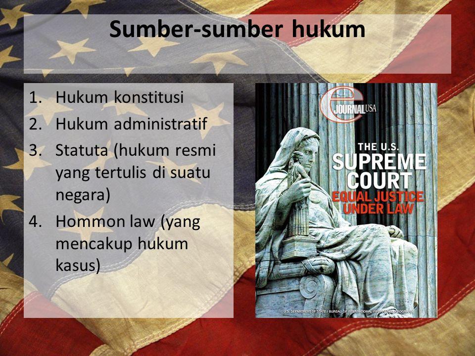 Sumber-sumber hukum 1.Hukum konstitusi 2.Hukum administratif 3.Statuta (hukum resmi yang tertulis di suatu negara) 4.Hommon law (yang mencakup hukum k