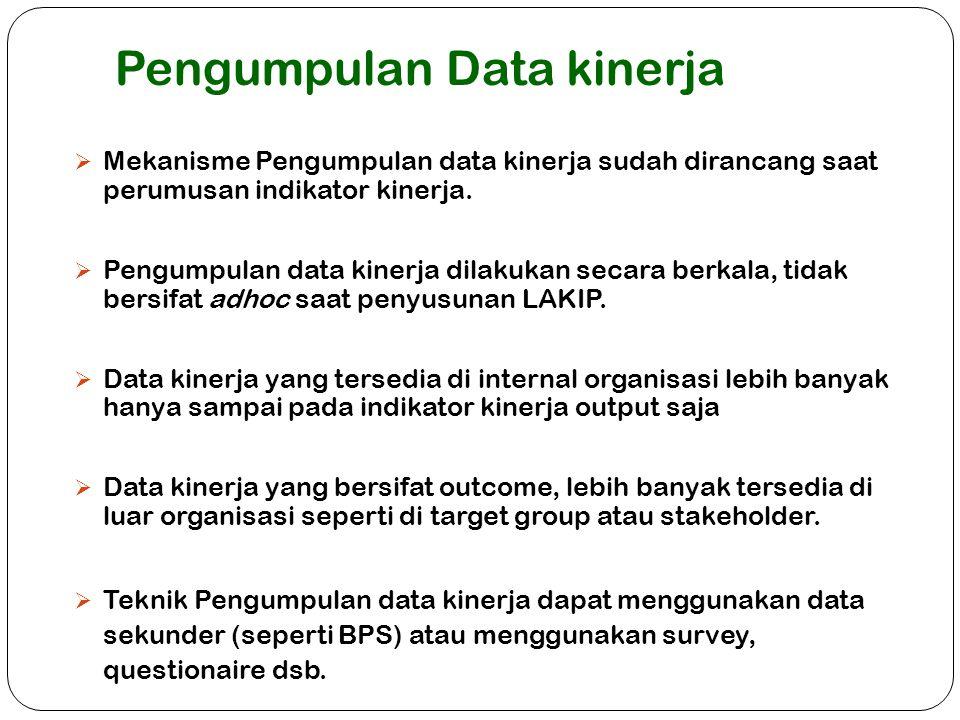 Pengumpulan Data kinerja  Mekanisme Pengumpulan data kinerja sudah dirancang saat perumusan indikator kinerja.  Pengumpulan data kinerja dilakukan s