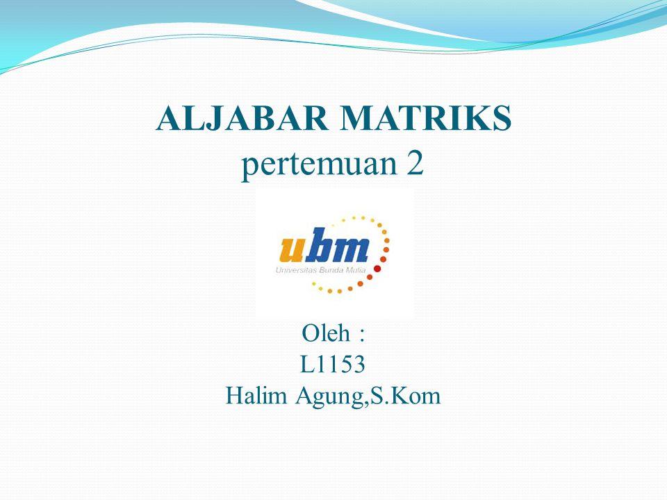 ALJABAR MATRIKS pertemuan 2 Oleh : L1153 Halim Agung,S.Kom