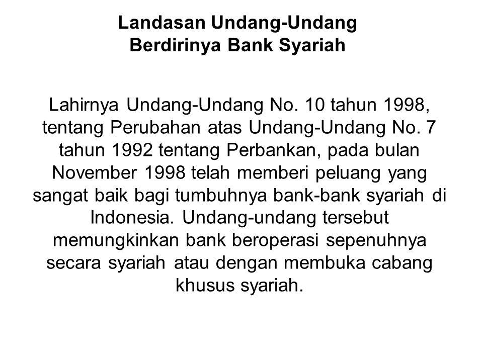 Lahirnya Undang-Undang No. 10 tahun 1998, tentang Perubahan atas Undang-Undang No. 7 tahun 1992 tentang Perbankan, pada bulan November 1998 telah memb