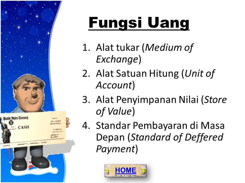 Jenis Uang  Uang Kartal, yaitu uang yang dikeluarkan oleh pemerintah melalui bank sentral (Bank Indonesia) berupa uang kertas dan uang logam.  Uang