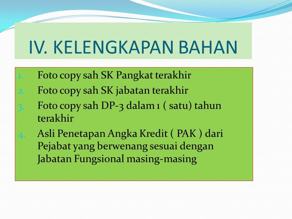 IV.KELENGKAPAN BAHAN 1. Foto copy sah SK Pangkat terakhir 2.