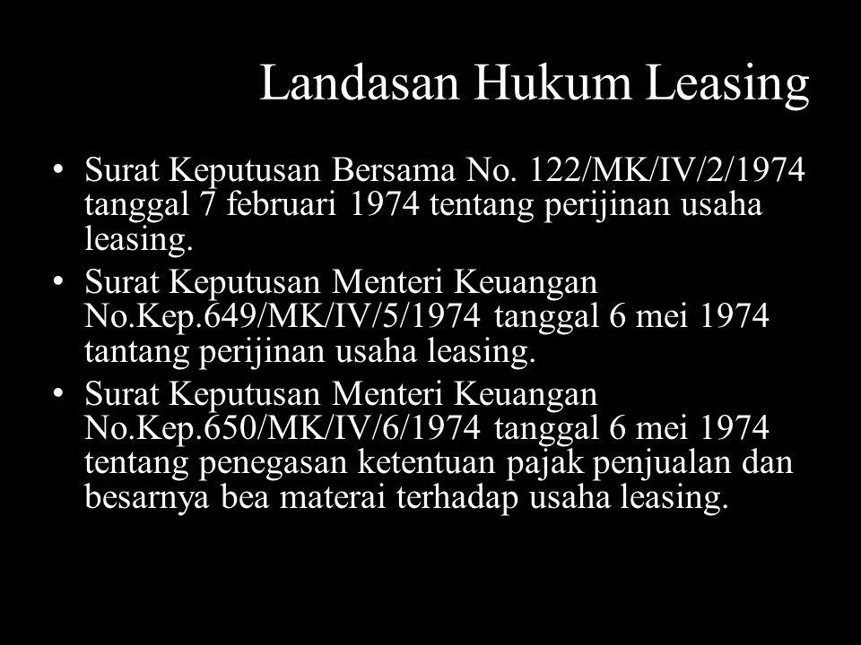 Landasan Hukum Leasing Surat Keputusan Bersama No. 122/MK/IV/2/1974 tanggal 7 februari 1974 tentang perijinan usaha leasing. Surat Keputusan Menteri K