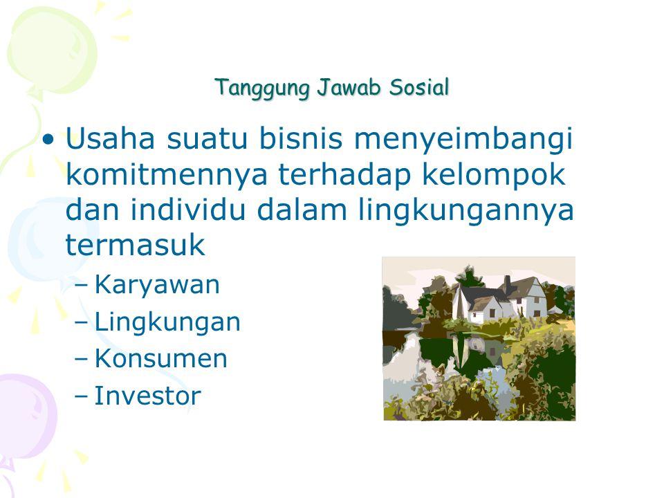 Tanggung Jawab Sosial Usaha suatu bisnis menyeimbangi komitmennya terhadap kelompok dan individu dalam lingkungannya termasuk –Karyawan –Lingkungan –Konsumen –Investor