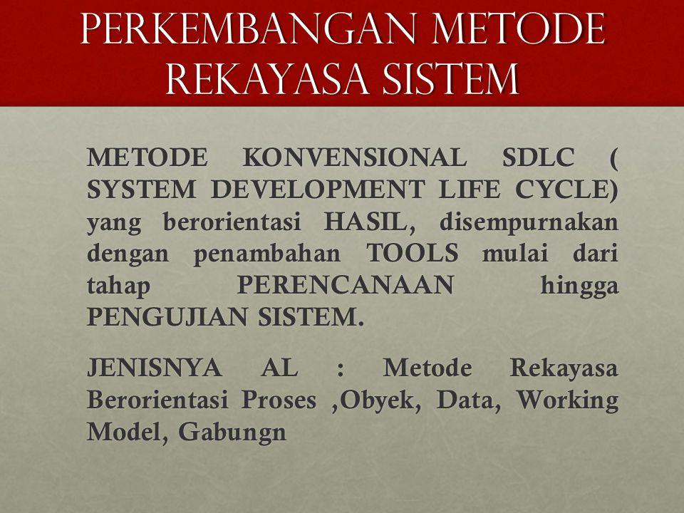 PERKEMBANGAN METODE REKAYASA SISTEM METODE KONVENSIONAL SDLC ( SYSTEM DEVELOPMENT LIFE CYCLE) yang berorientasi HASIL, disempurnakan dengan penambahan