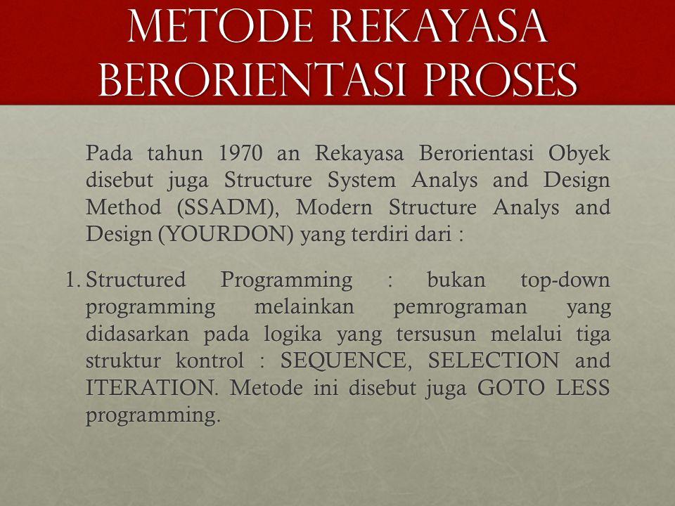 METODE REKAYASA BERORIENTASI PROSES Pada tahun 1970 an Rekayasa Berorientasi Obyek disebut juga Structure System Analys and Design Method (SSADM), Mod