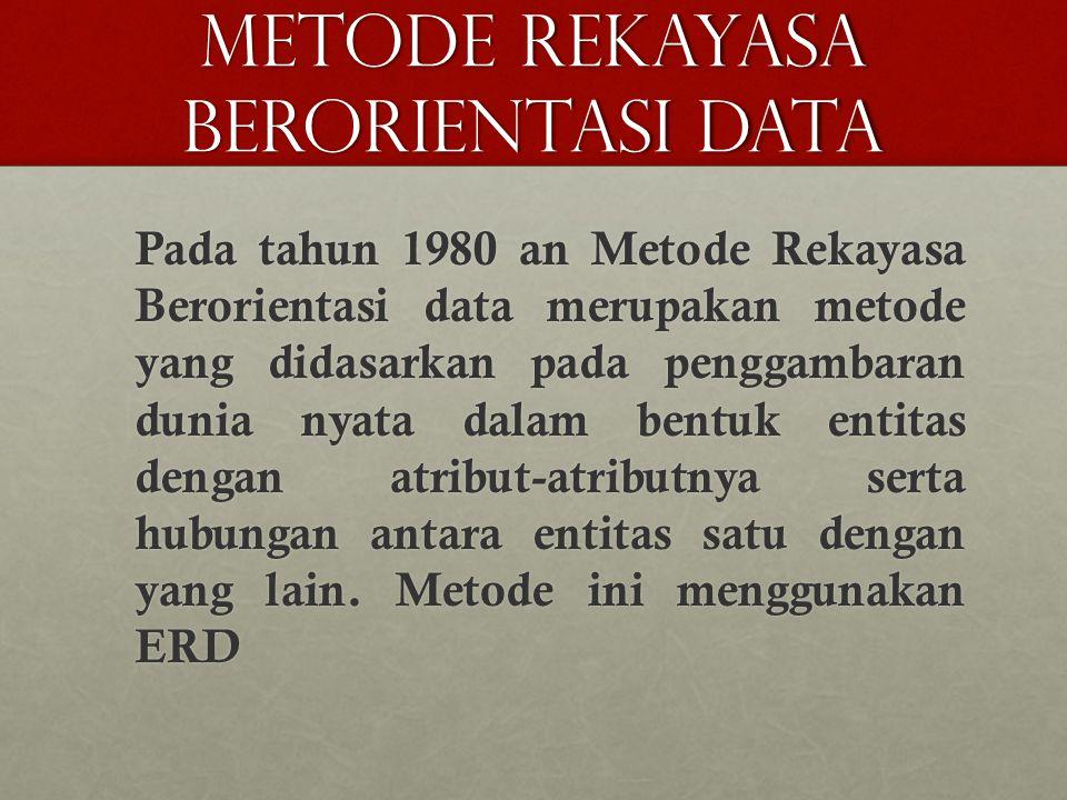 METODE REKAYASA BERORIENTASI DATA Pada tahun 1980 an Metode Rekayasa Berorientasi data merupakan metode yang didasarkan pada penggambaran dunia nyata