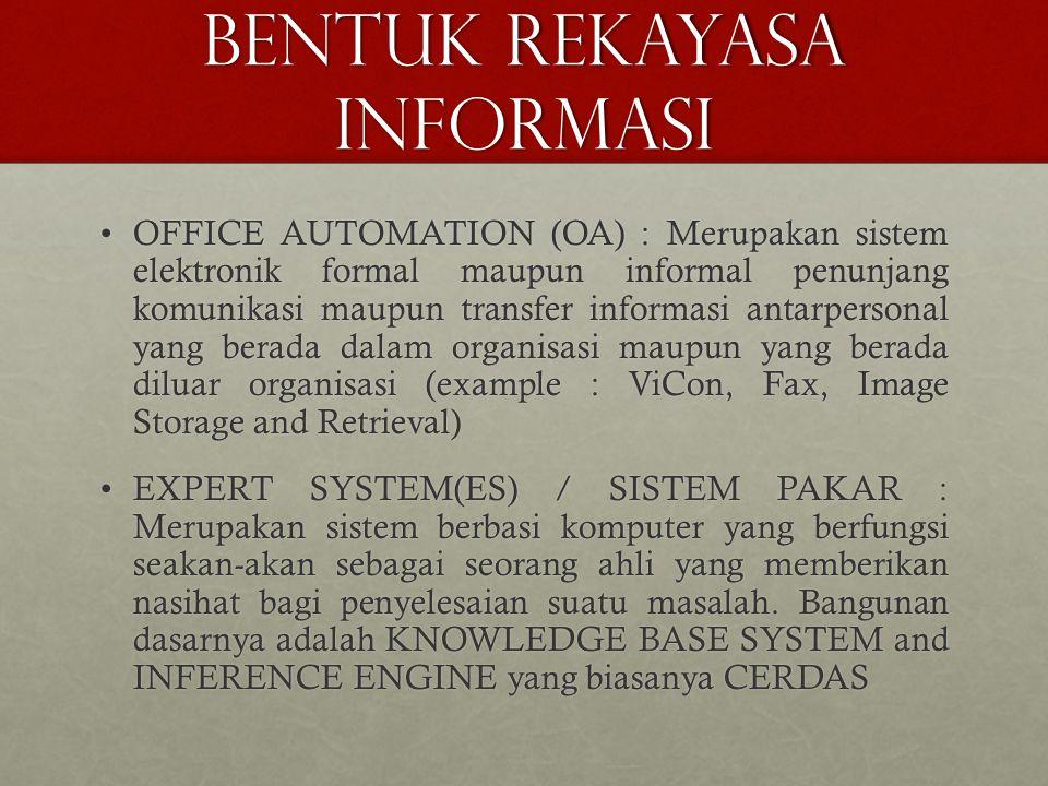 BENTUK REKAYASA INFORMASI OFFICE AUTOMATION (OA) : Merupakan sistem elektronik formal maupun informal penunjang komunikasi maupun transfer informasi a