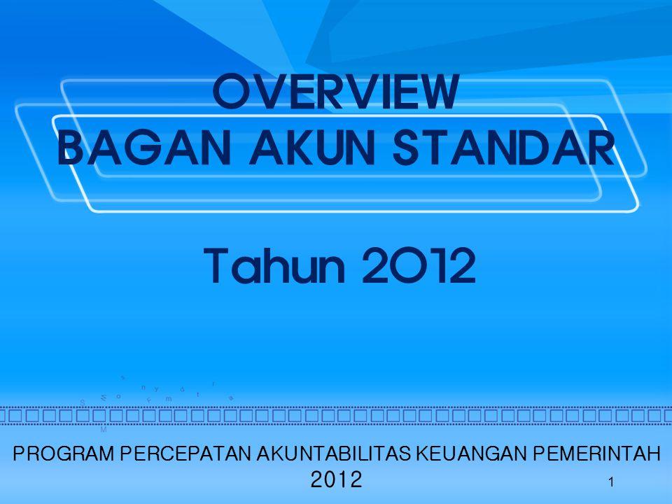 OVERVIEW BAGAN AKUN STANDAR Tahun 2012 1 PROGRAM PERCEPATAN AKUNTABILITAS KEUANGAN PEMERINTAH 2012