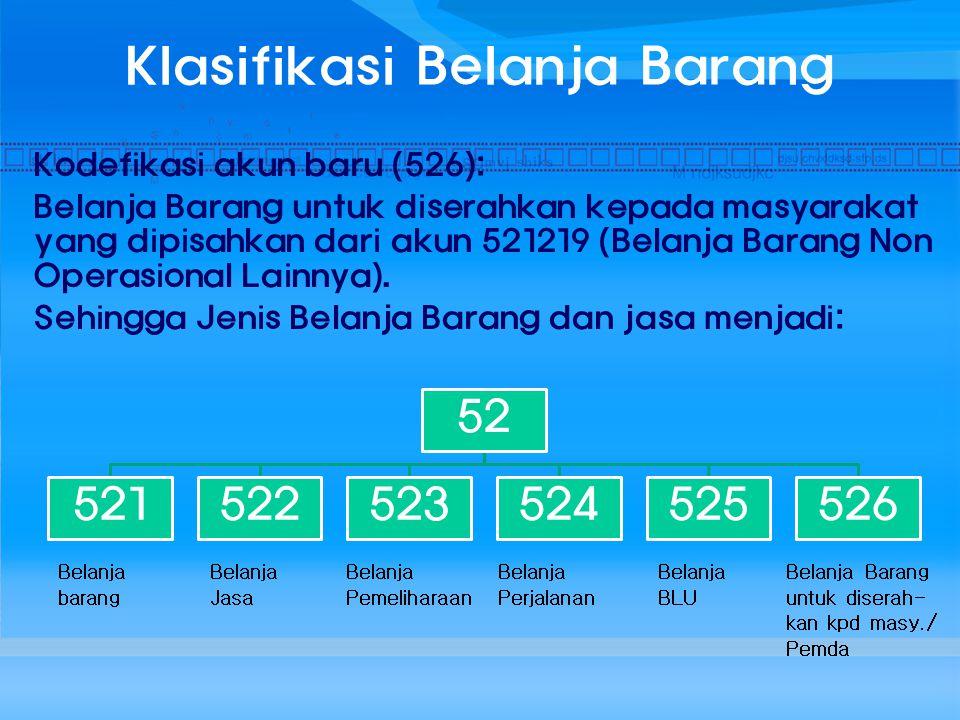 Klasifikasi Belanja Barang Kodefikasi akun baru (526): Belanja Barang untuk diserahkan kepada masyarakat yang dipisahkan dari akun 521219 (Belanja Bar