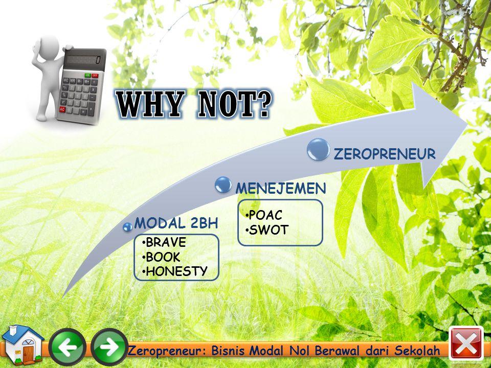 Zeropreneur: Bisnis Modal Nol Berawal dari Sekolah BRAVE BOOK HONESTY POAC SWOT