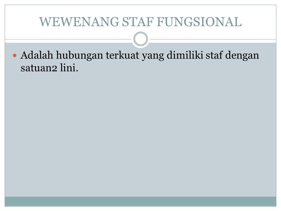 WEWENANG STAF FUNGSIONAL Adalah hubungan terkuat yang dimiliki staf dengan satuan2 lini.