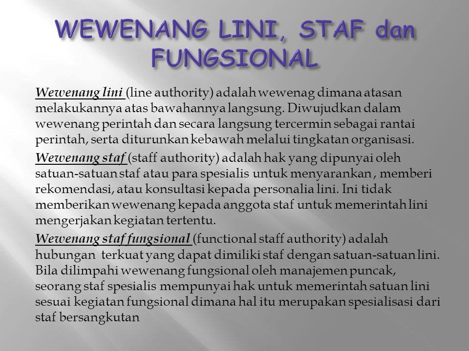 Wewenang lini (line authority) adalah wewenag dimana atasan melakukannya atas bawahannya langsung. Diwujudkan dalam wewenang perintah dan secara langs